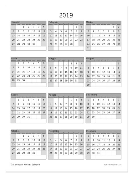 Calendario 2019, 37DS. Calendario gratuito da stampare.