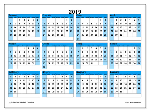 Calendario 2019 Con Le Festivita.Calendario 2019 39ds Michel Zbinden It