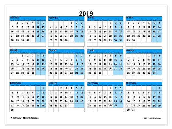 Calendario 2019 (39LD). Calendario annuale da stampare gratuitamente.