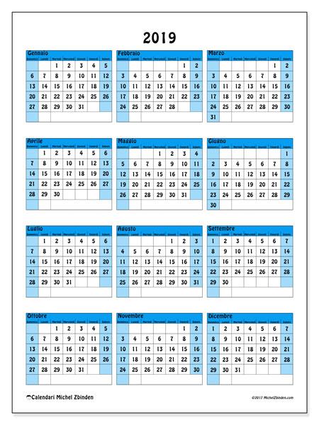 Calendario 2019, 40DS. Calendario per l'anno da stampare gratuitamente.