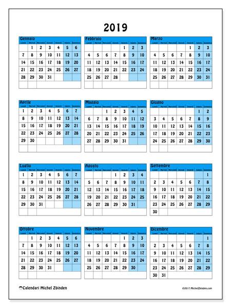Calendario 2019 (40LD). Calendario stampabile gratuito.