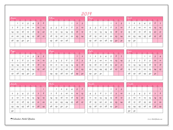 Calendario 2019, 41LD. Calendario da stampare gratis.