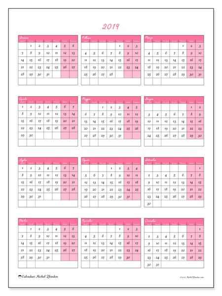 Calendario 2019 (42LD). Calendario annuale da stampare gratuitamente.