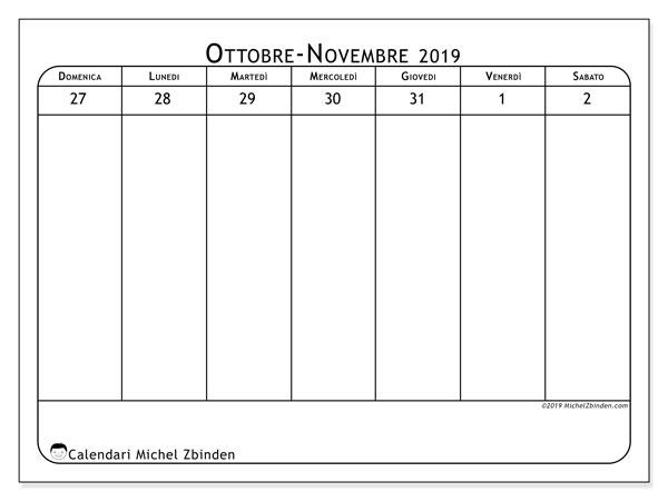 Calendario 2019, 43-44DS. Calendario per la settimana da stampare gratuitamente.
