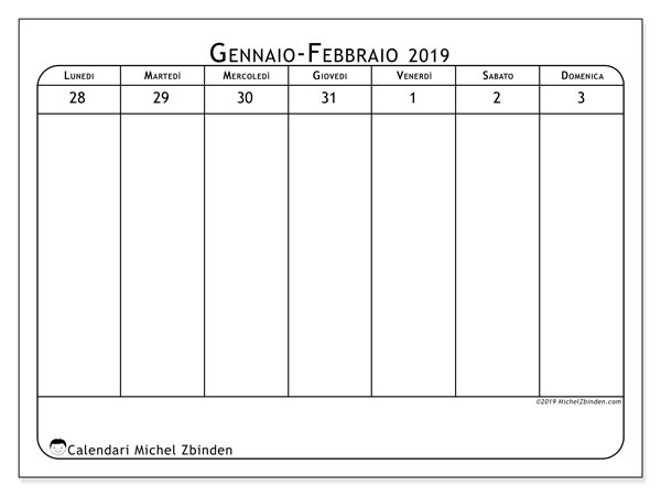 Calendario 2019, 43-5LD. Calendario settimanale da stampare gratuitamente.