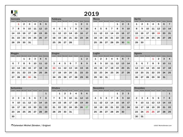 Calendari 2019, con giorini festivi del Cantone dei Grigioni. Calendario gratuito da stampare.