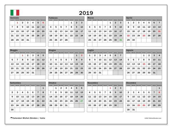 Calendario 2019, con giorni festivi in Italia. Calendario da stampare gratuita con giorni festivi.