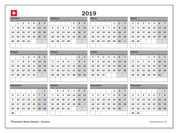 Calendario 2019, con giorni festivi della Svizzera. Calendario da stampare gratuita con giorni festivi.