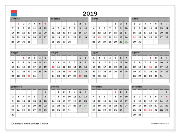 Calendario 2019 Con Le Festivita.Calendario 2019 Ticino Michel Zbinden It