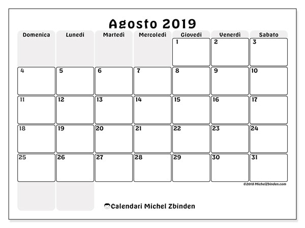 Calendario Mese Agosto.Calendario Agosto 2019 44ds Michel Zbinden It