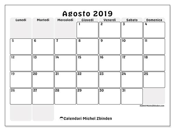 Pagina Calendario Agosto 2019.Calendario Agosto 2019 44ld Michel Zbinden It