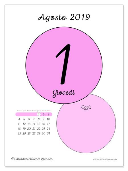 Calendario agosto 2019, 45-1DS. Calendario per il giorno da stampare gratuitamente.