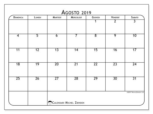 Calendario agosto 2019, 51DS. Calendario stampabile gratuito.