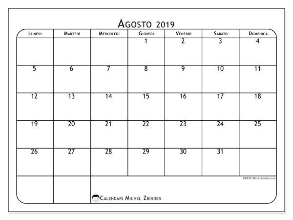 Calendario agosto 2019, 51LD. Calendario stampabile gratuito.
