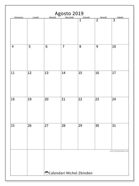 Calendario agosto 2019, 52DS. Calendario stampabile gratuito.