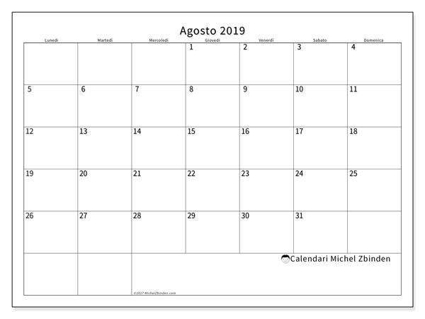 Calendario  agosto 2019, 53LD