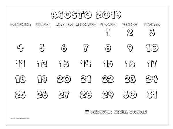 Calendario agosto 2019, 56DS. Calendario per il mese da stampare gratuitamente.