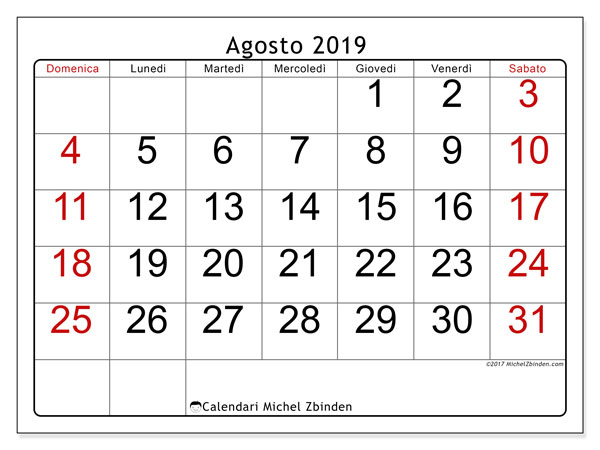 Calendario agosto 2019, 62DS. Calendario per la stampa gratis.