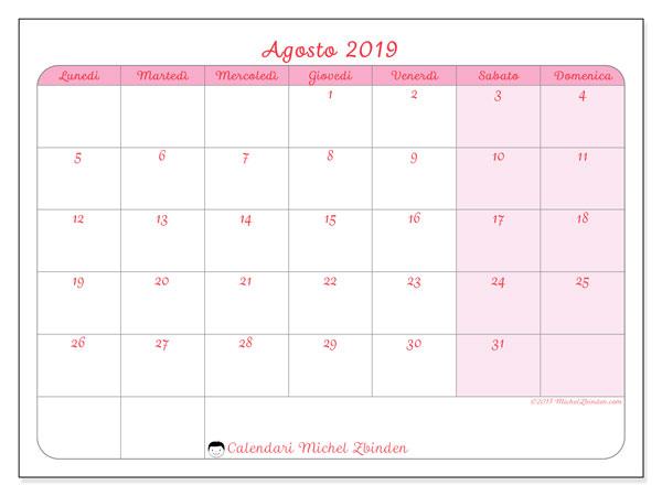 Calendario agosto 2019 (63LD). Calendario per il mese da stampare gratuitamente.