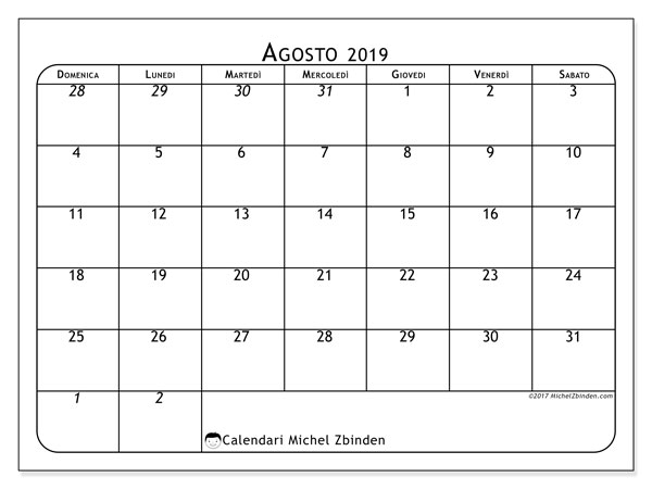 Calendario agosto 2019, 67DS. Calendario da stampare gratis.