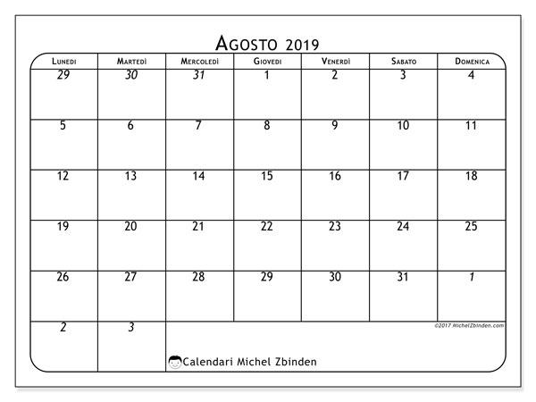 Calendario agosto 2019, 67LD. Calendario per il mese da stampare gratuitamente.