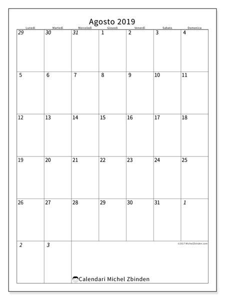 Calendario  agosto 2019, 68LD