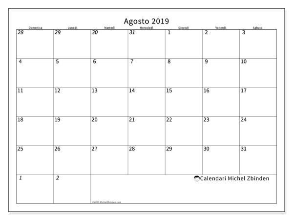 Calendario agosto 2019, 70DS. Calendario mensile da stampare gratuitamente.