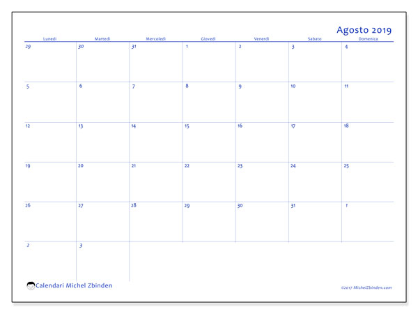 Calendario agosto 2019, 73LD. Calendario stampabile gratuito.