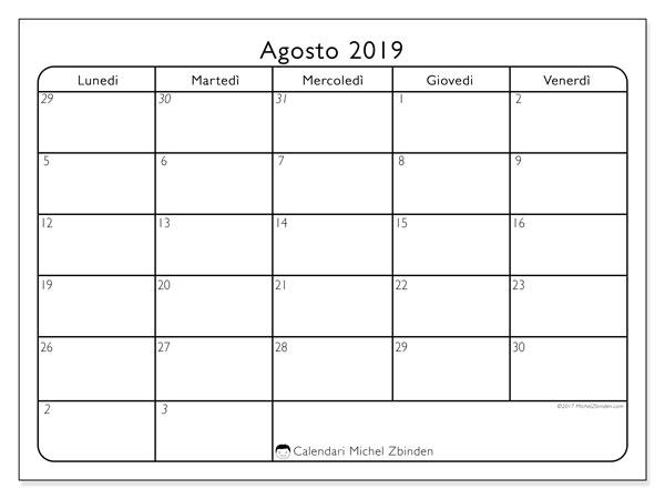 Calendario agosto 2019, 74DS. Calendario mensile da stampare gratuitamente.