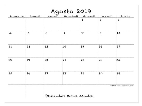 Calendario agosto 2019, 77DS. Calendario gratuito da stampare.