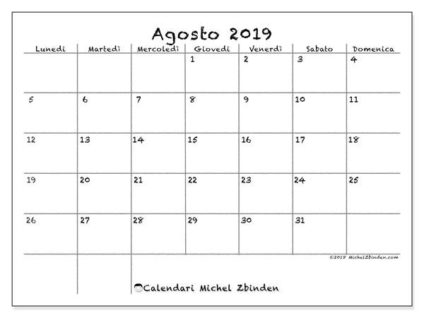Calendario agosto 2019, 77LD. Calendario gratuito da stampare.