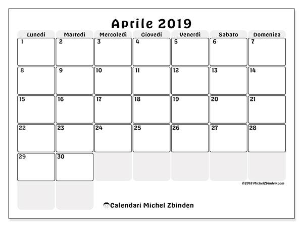 Calendario aprile 2019, 44LD. Calendario da stampare gratis.