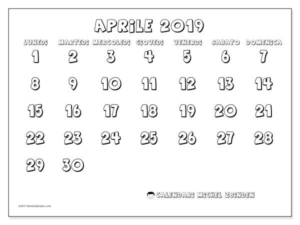 Calendario 2020 Da Colorare Per Bambini.Calendario Aprile 2019 56ld Michel Zbinden It