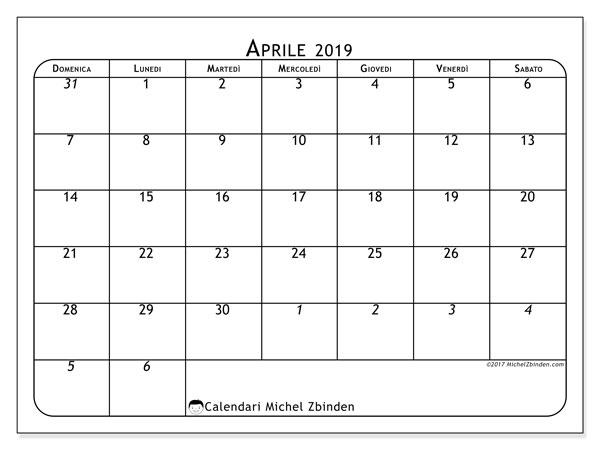 Calendario aprile 2019 (67DS). Calendario gratuito da stampare.