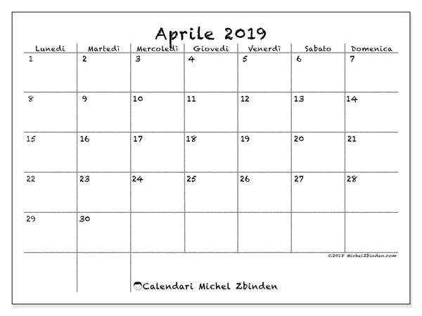 Calendario Mensile Aprile 2020.Calendario Aprile 2019 77ld Michel Zbinden It
