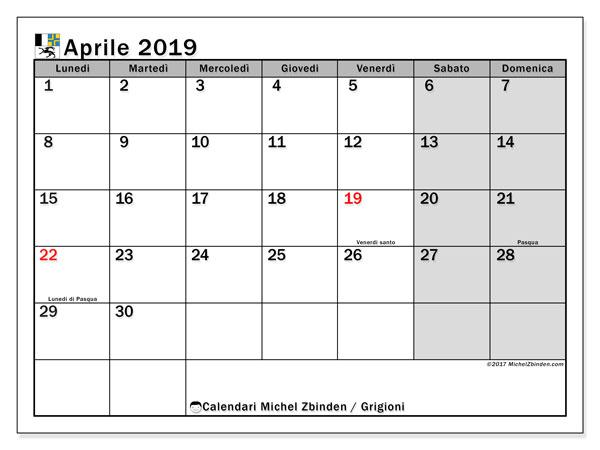 Calendari aprile 2019, con giorini festivi del Cantone dei Grigioni. Orario da stampare gratis.