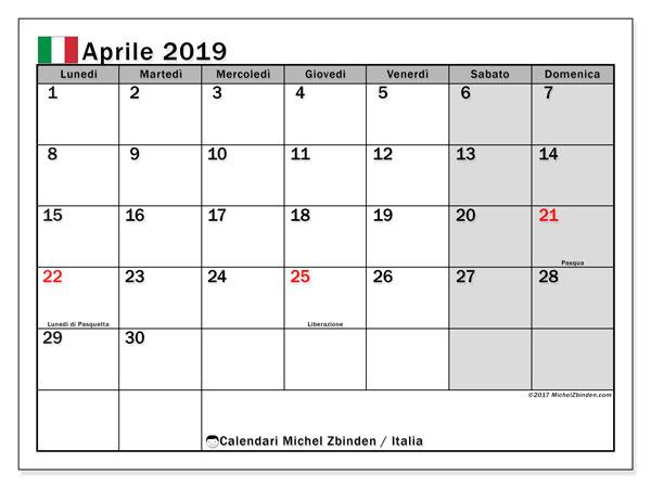 Calendari aprile 2019, con giorni festivi in Italia. Calendario per la stampa gratis.