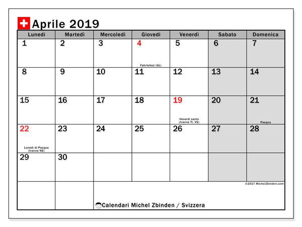 Calendari aprile 2019, con giorini festivi della Svizzera. Calendario gratuito da stampare.
