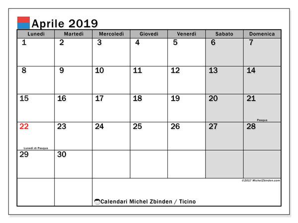 Calendari aprile 2019, con giorini festivi in Ticino. Calendario mensile da stampare gratuitamente.