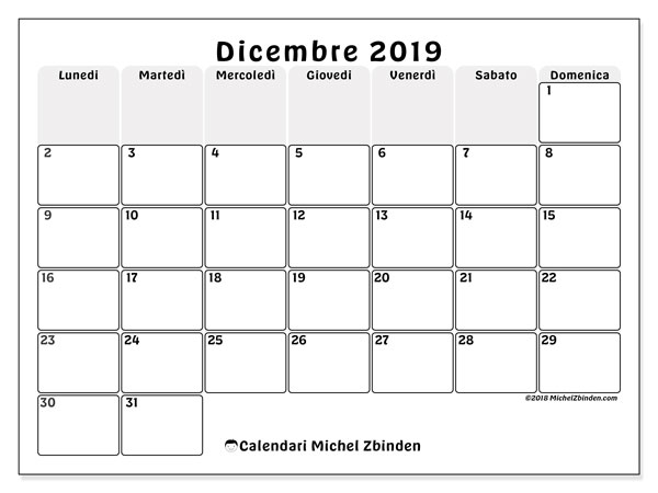 Calendario dicembre 2019, 44LD. Calendario da stampare gratis.