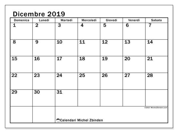 Calendario dicembre 2019, 50DS. Calendario stampabile gratuito.