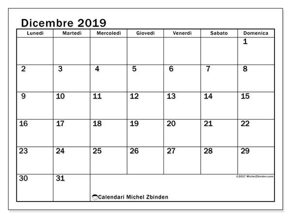 Calendario dicembre 2019, 50LD. Calendario da stampare gratis.