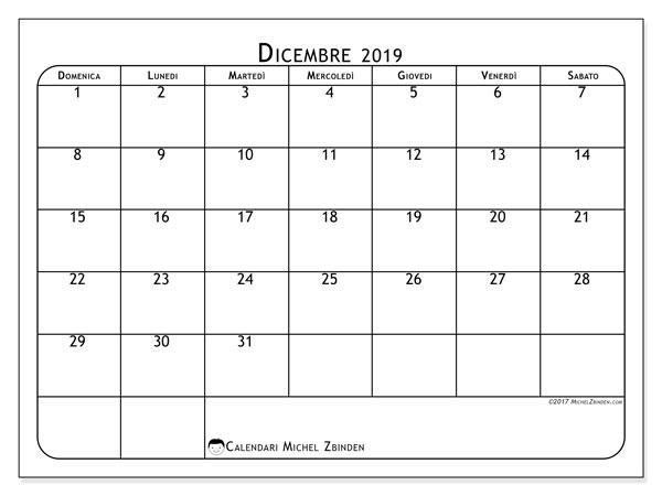 Calendario dicembre 2019, 51DS. Calendario da stampare gratis.