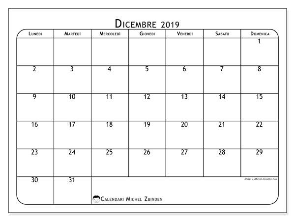 Calendario Dicembre 2019 Stampabile.Calendario Dicembre 2019 51ld Michel Zbinden It