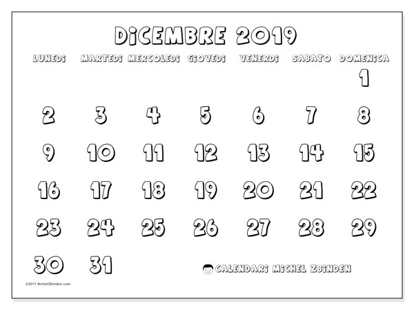 Calendario dicembre 2019, 56LD. Orario da stampare gratis.