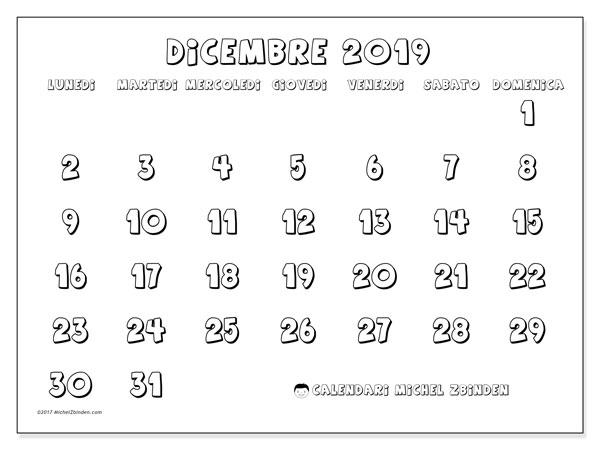 Calendario dicembre 2019, 56LD. Calendario gratuito da stampare.