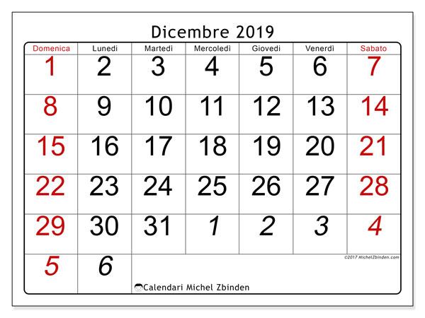 Calendario Mese Dicembre 2019.Calendario Dicembre 2019 72ds Michel Zbinden It