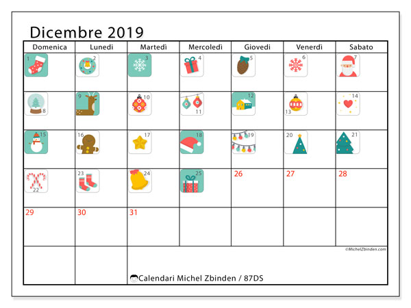 Calendario dicembre 2019, 87DS. Calendario dell'Avvento. Calendario per la stampa gratis.