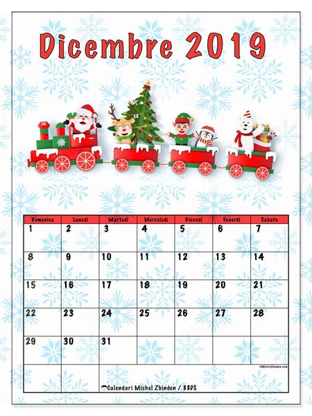 Calendario dicembre 2019, 88DS. Il treno di Babbo Natale. Calendario stampabile gratuito.