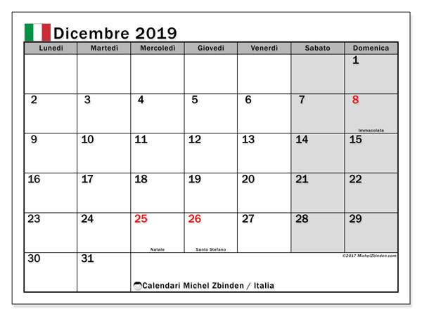 Calendario dicembre 2019, Italia   Michel Zbinden IT